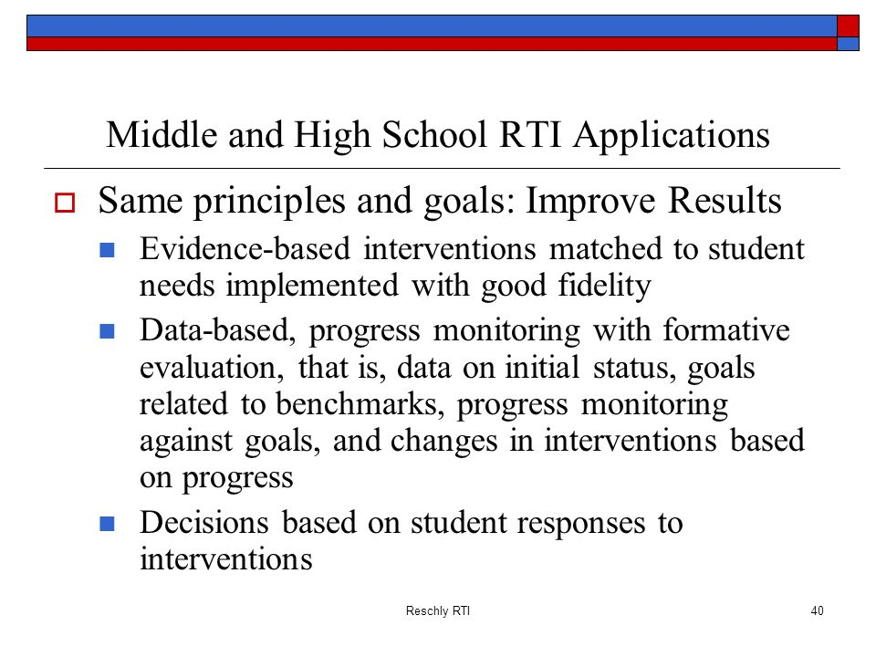 Middle and High School RTI Applications