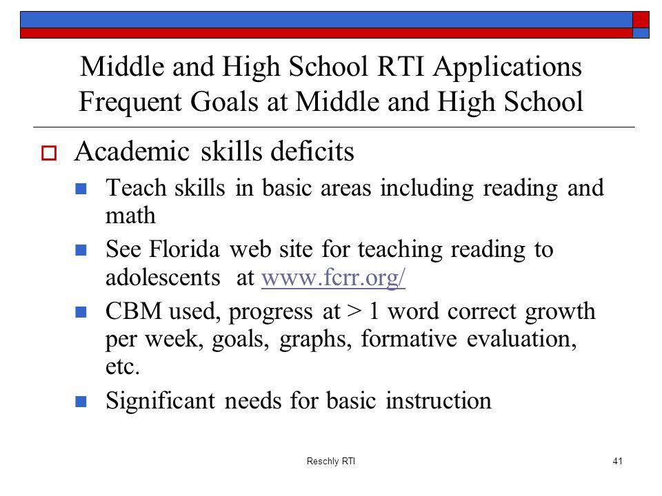 Academic skills deficits