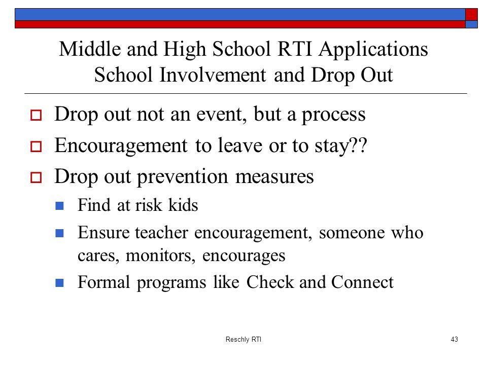 Drop out not an event, but a process