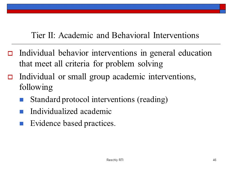 Tier II: Academic and Behavioral Interventions