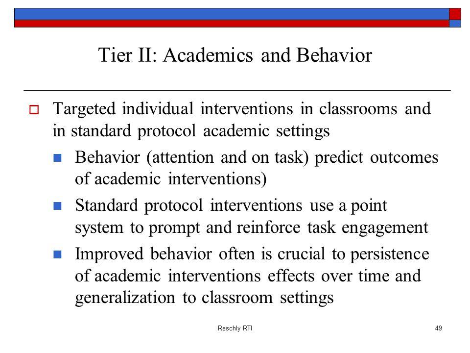 Tier II: Academics and Behavior