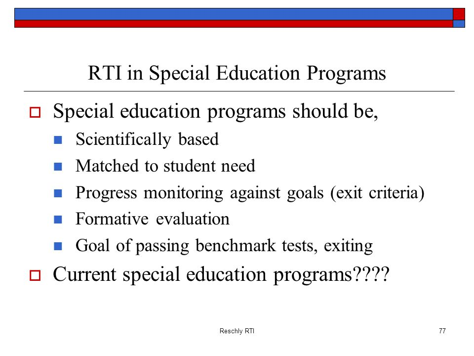 RTI in Special Education Programs