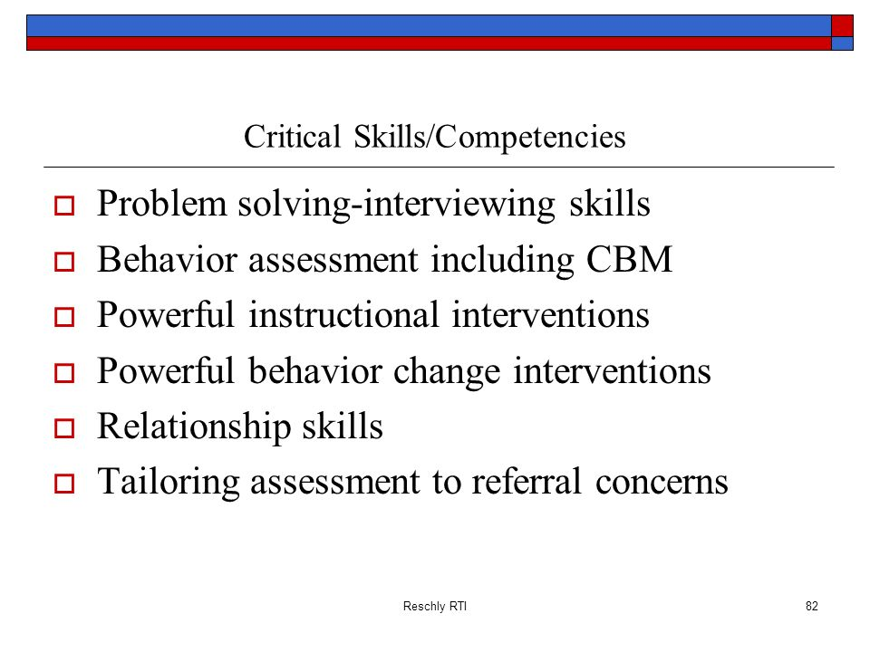 Critical Skills/Competencies