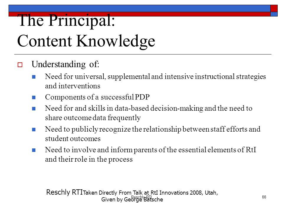 The Principal: Content Knowledge