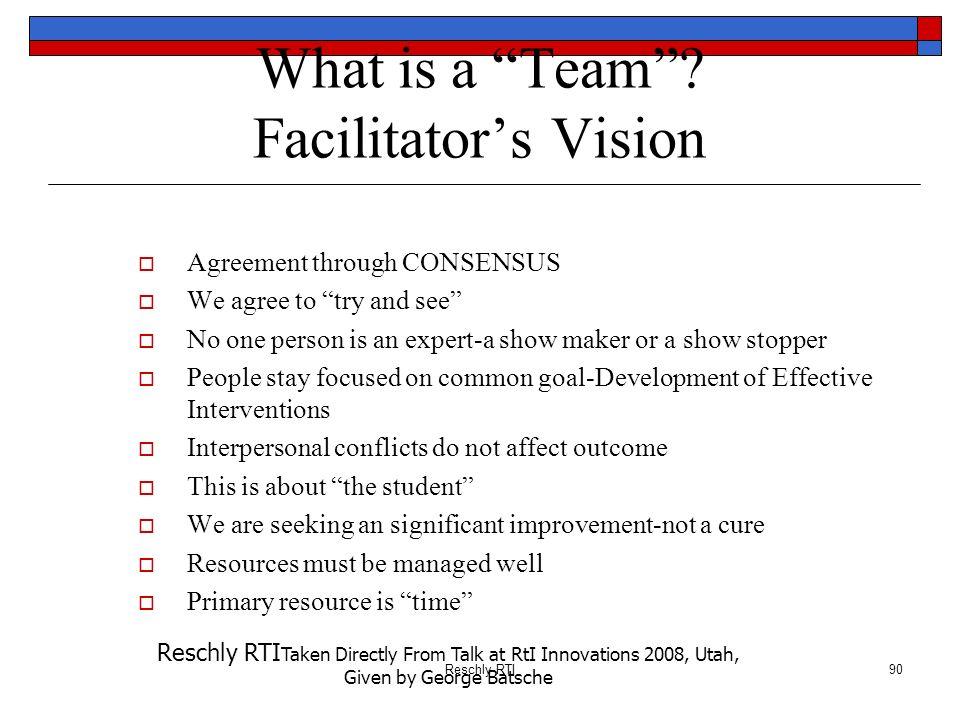 What is a Team Facilitator's Vision