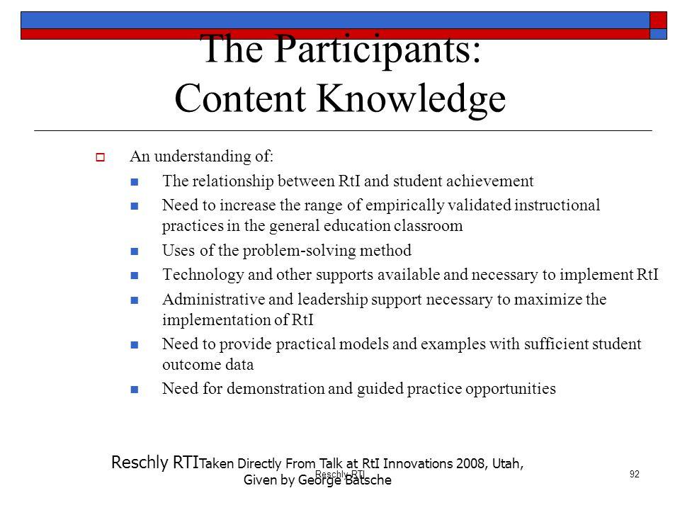 The Participants: Content Knowledge