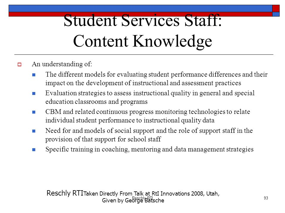 Student Services Staff: Content Knowledge