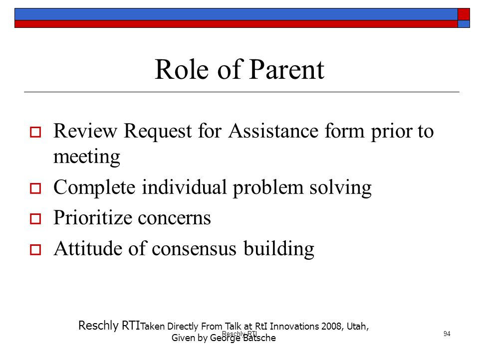 Role of Parent Review Request for Assistance form prior to meeting