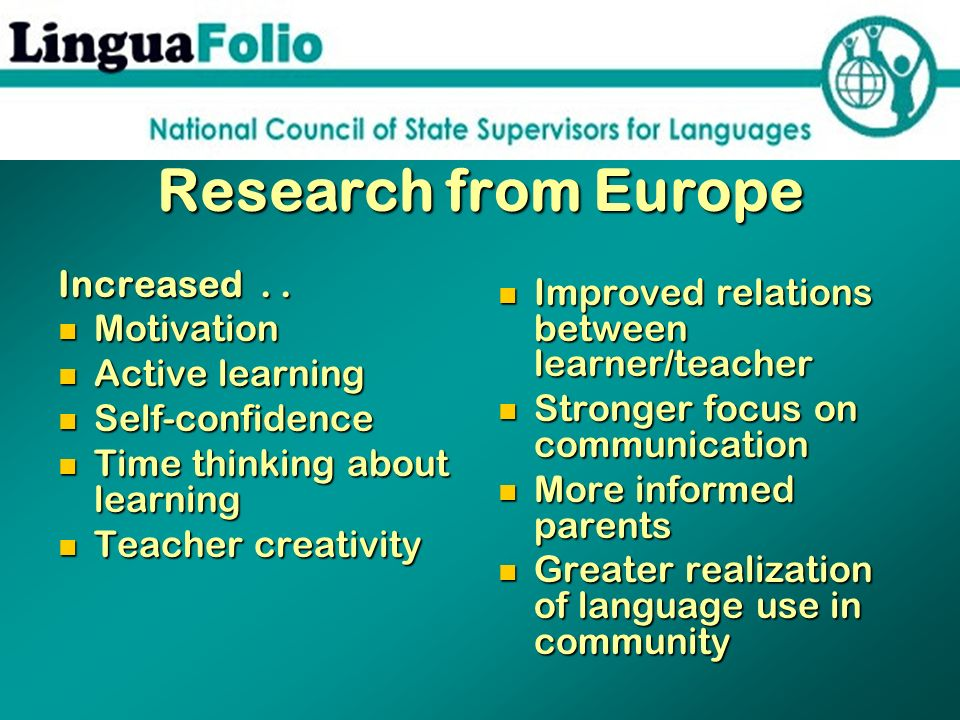Research from Europe Increased . .