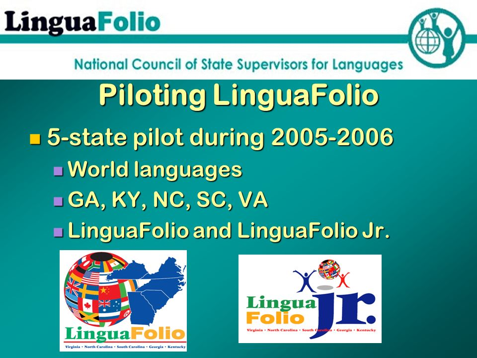 Piloting LinguaFolio 5-state pilot during 2005-2006 World languages