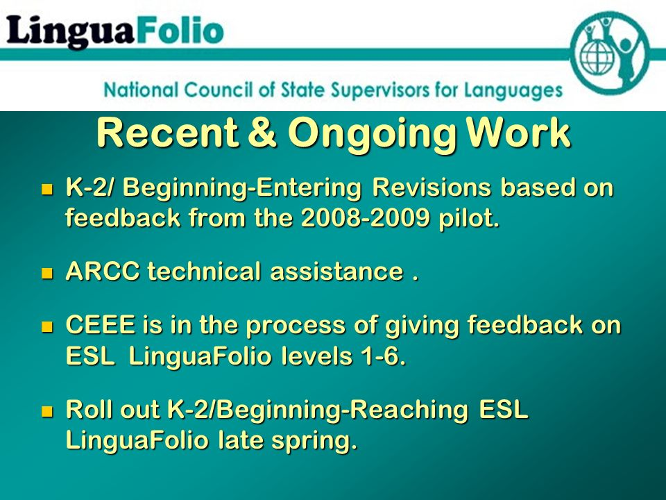 Recent & Ongoing Work K-2/ Beginning-Entering Revisions based on feedback from the 2008-2009 pilot.