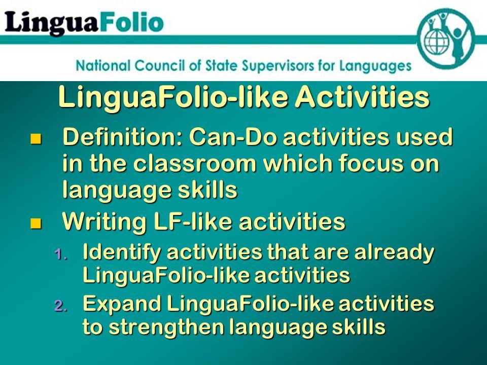 LinguaFolio-like Activities
