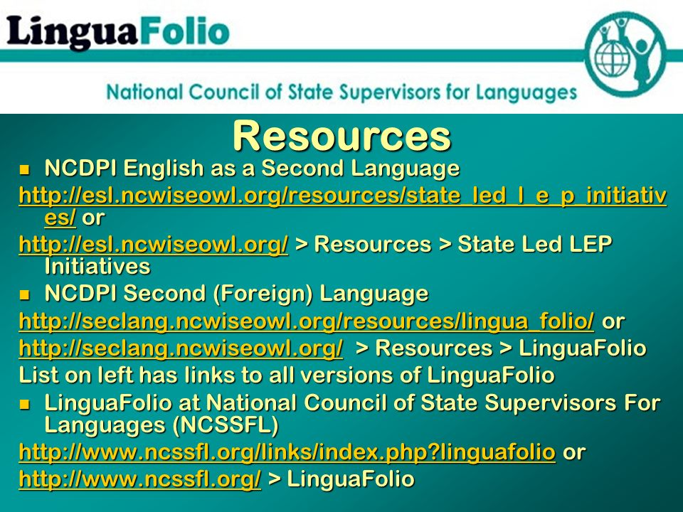 Resources NCDPI English as a Second Language