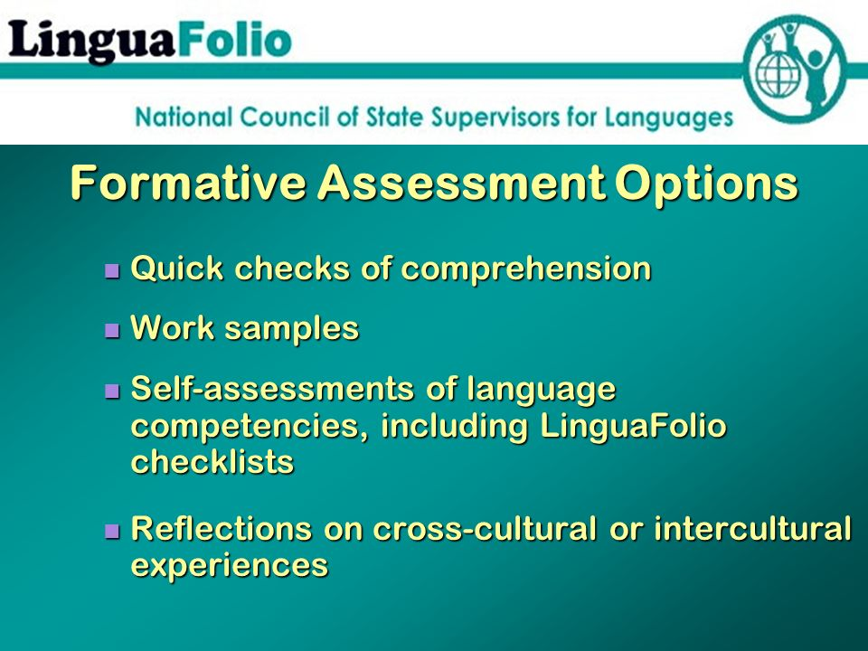Formative Assessment Options