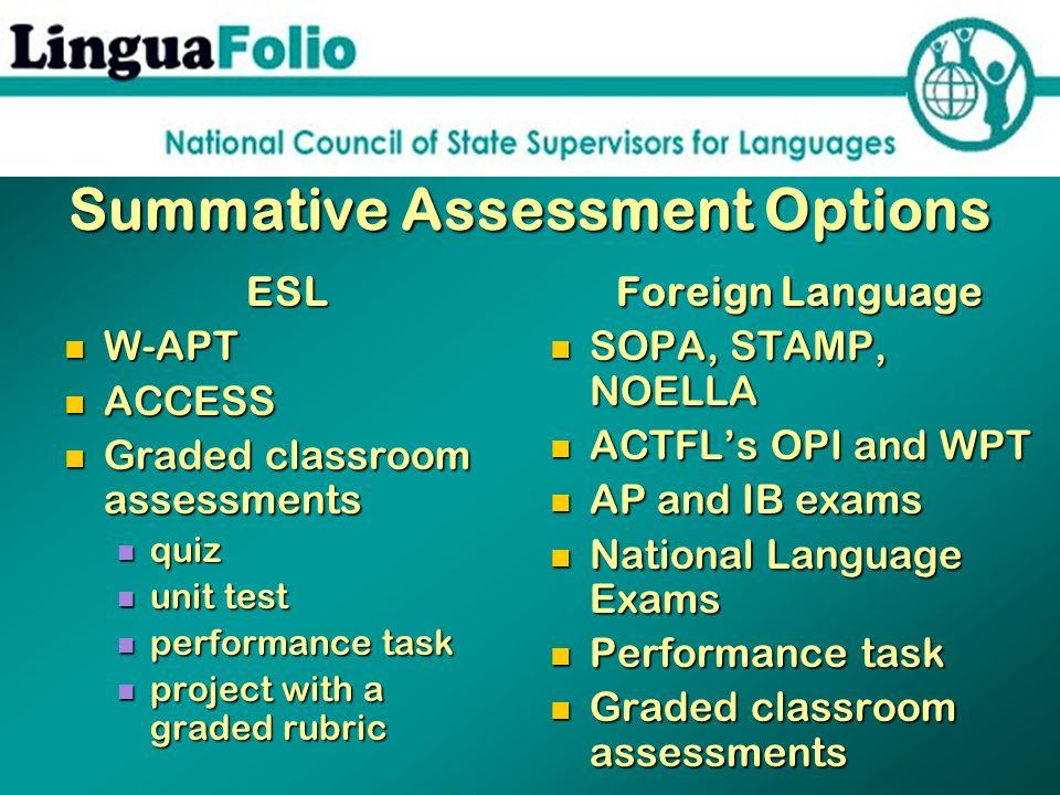 Summative Assessment Options