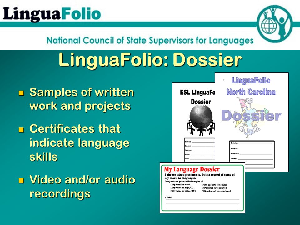 LinguaFolio: Dossier Samples of written work and projects