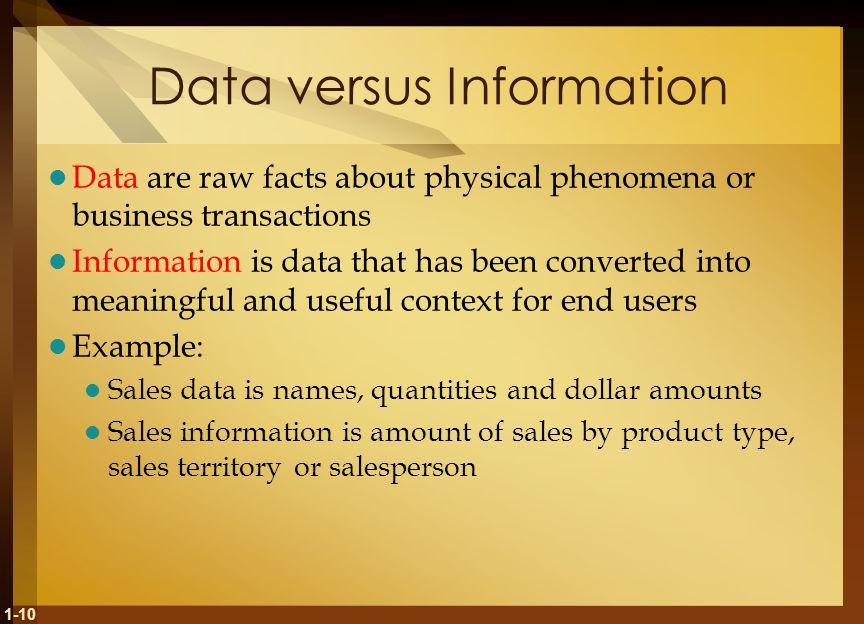 Data versus Information