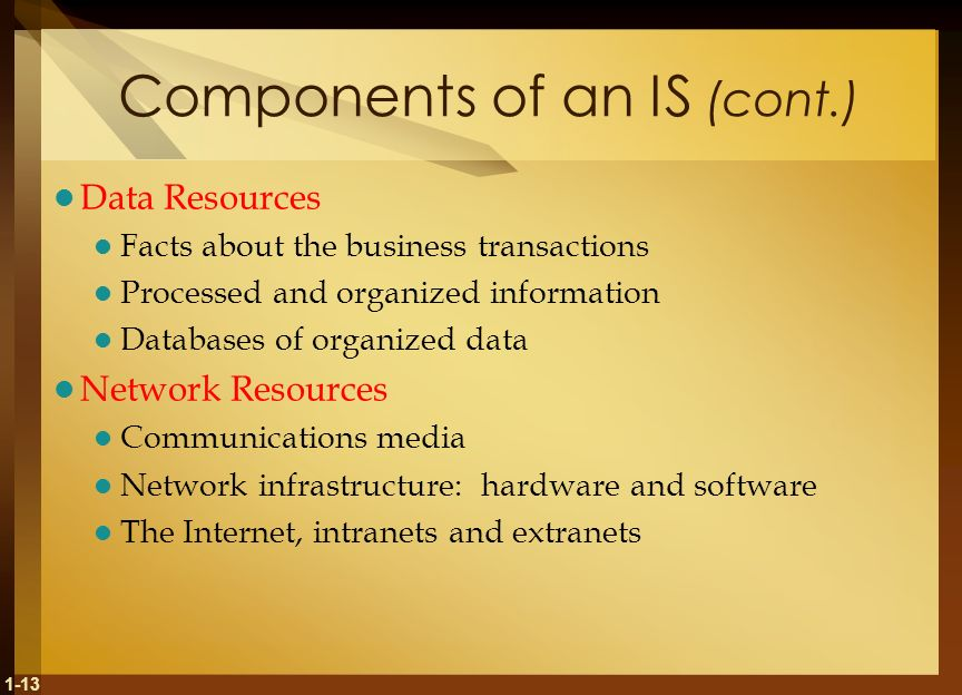 Components of an IS (cont.)