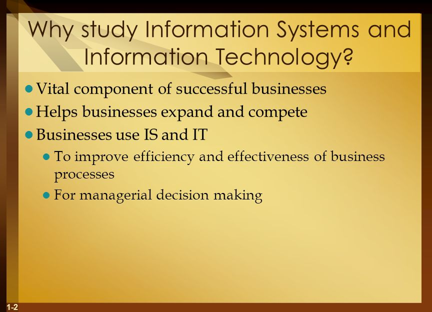 Why study Information Systems and Information Technology