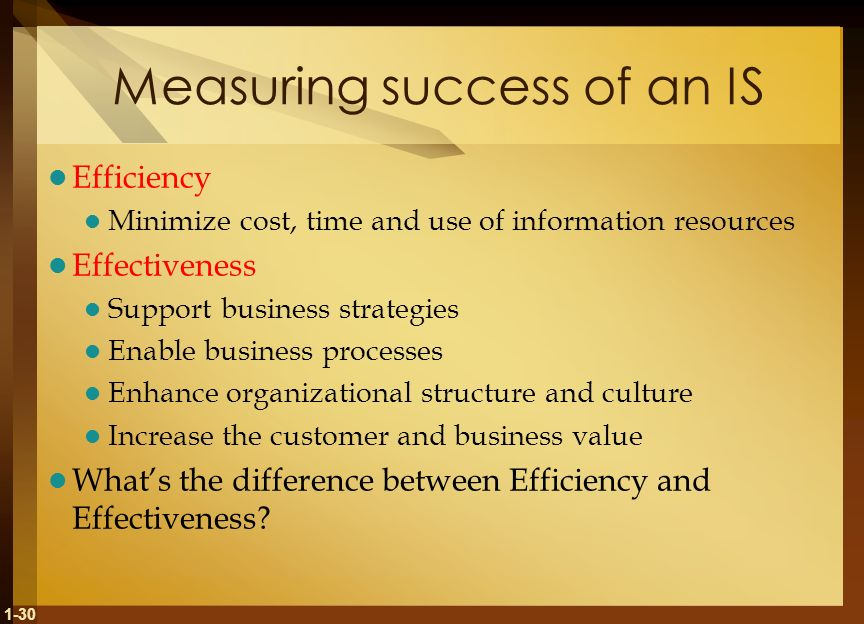 Measuring success of an IS