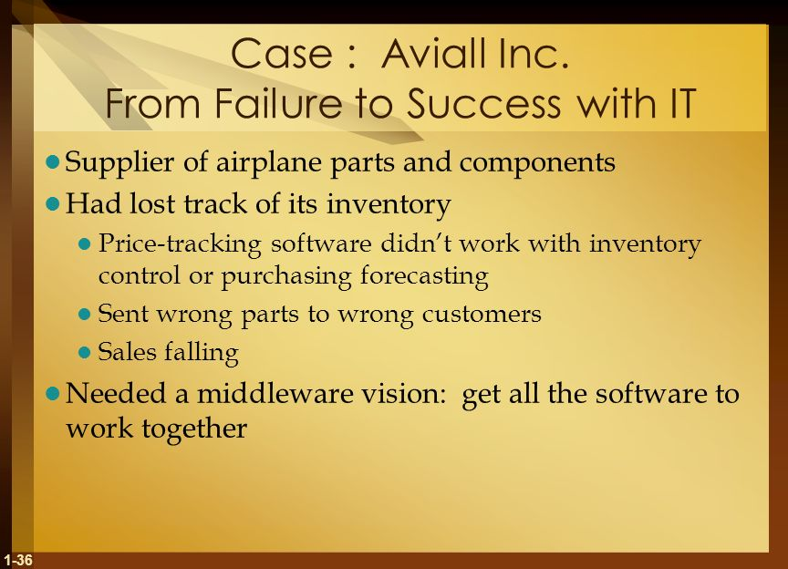 Case : Aviall Inc. From Failure to Success with IT