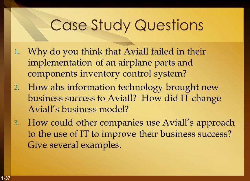 Case Study Questions Why do you think that Aviall failed in their implementation of an airplane parts and components inventory control system