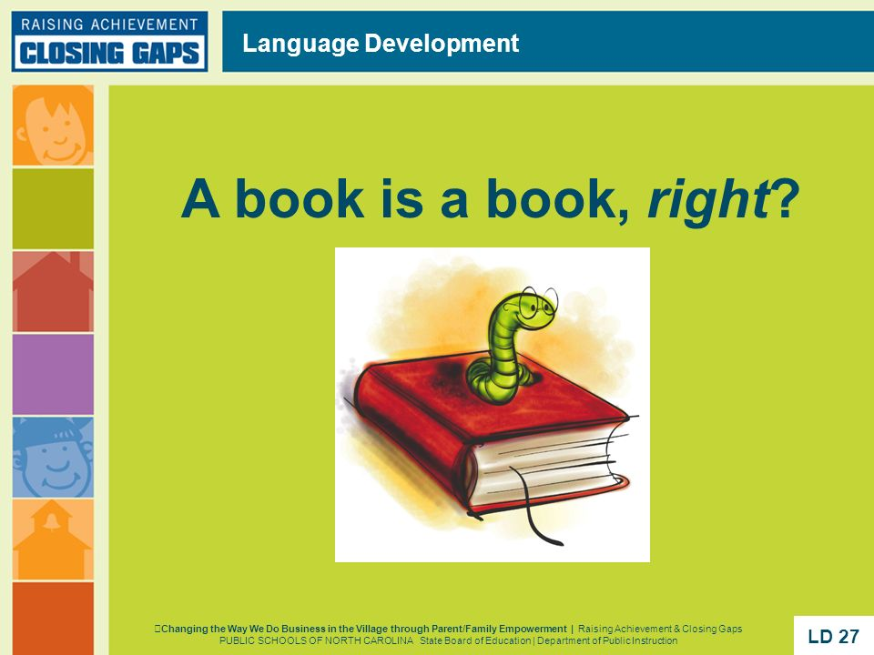 A book is a book, right Language Development LD 27 LD 27