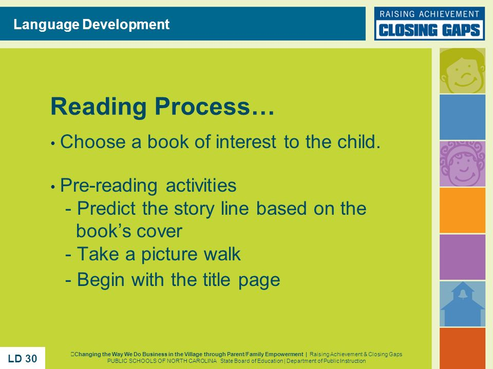Reading Process… Choose a book of interest to the child.