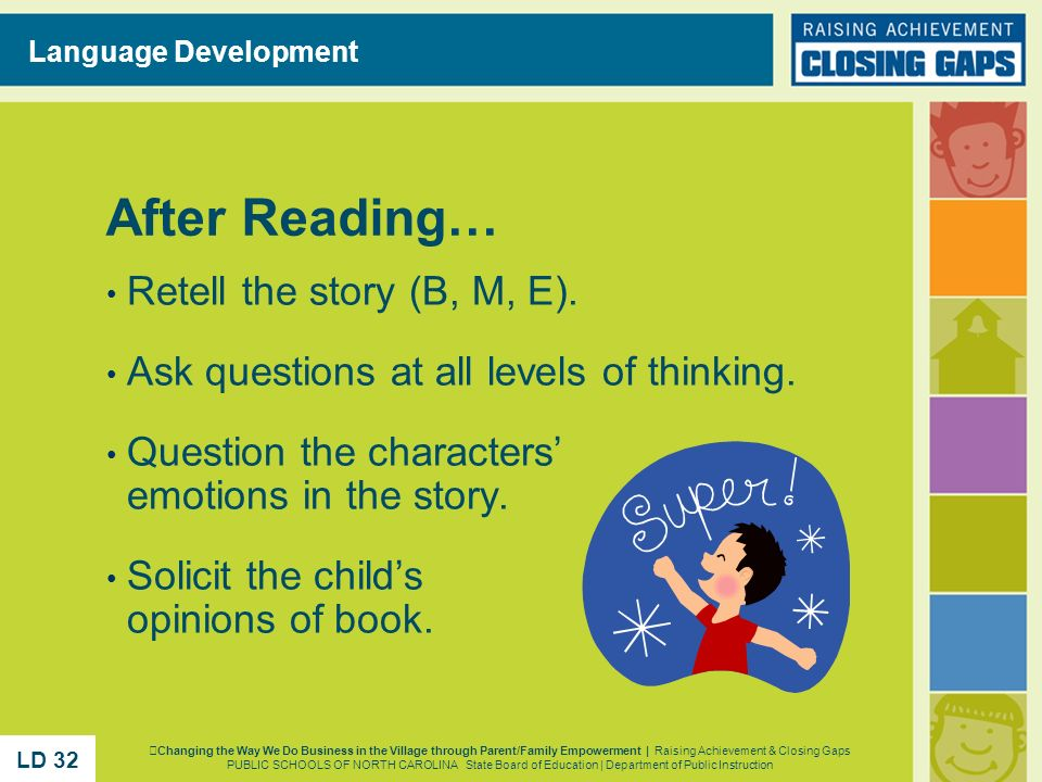 After Reading… Retell the story (B, M, E).