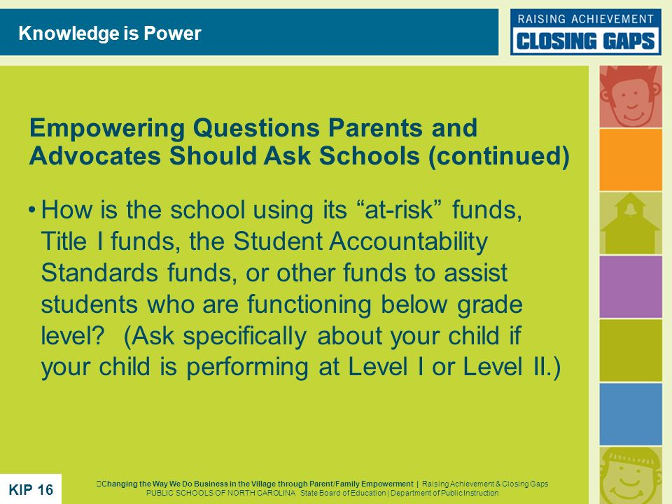 Knowledge is Power Empowering Questions Parents and Advocates Should Ask Schools (continued)
