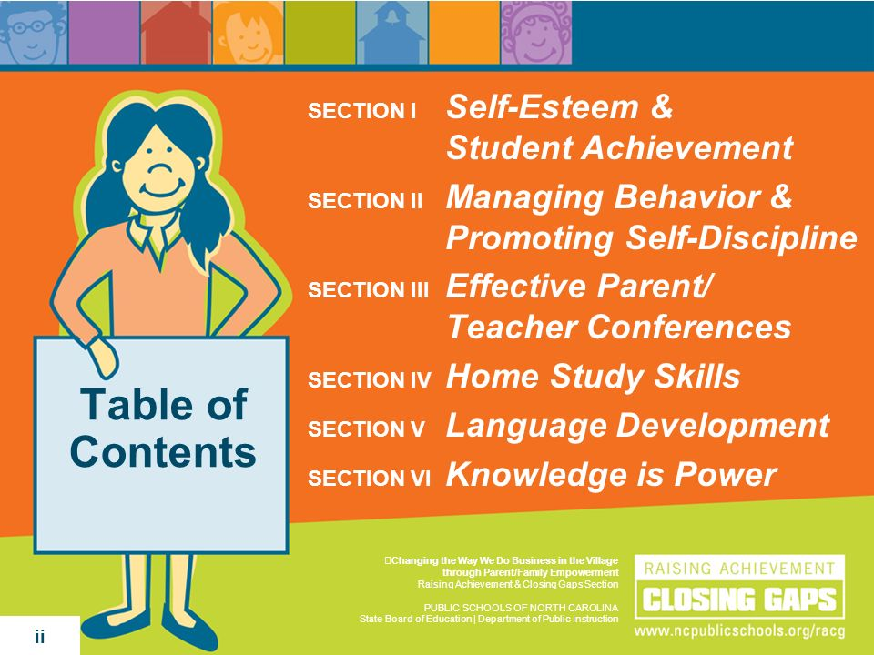 Table of Contents SECTION I Self-Esteem & Student Achievement