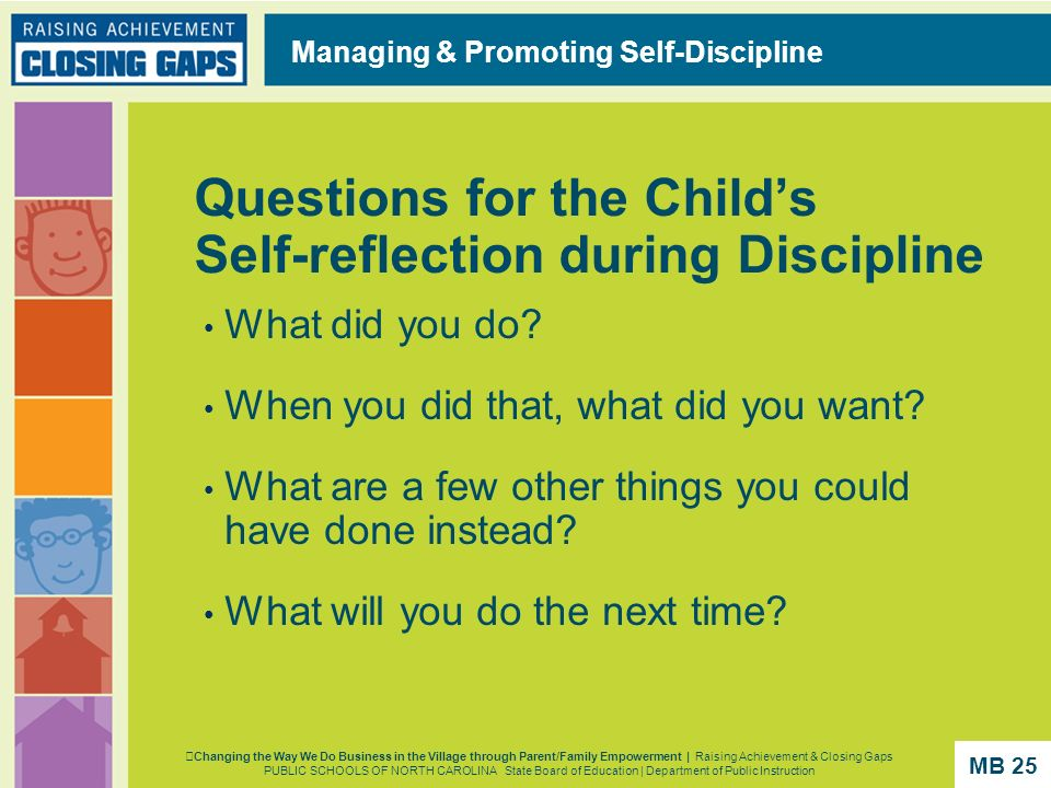 Questions for the Child's Self-reflection during Discipline