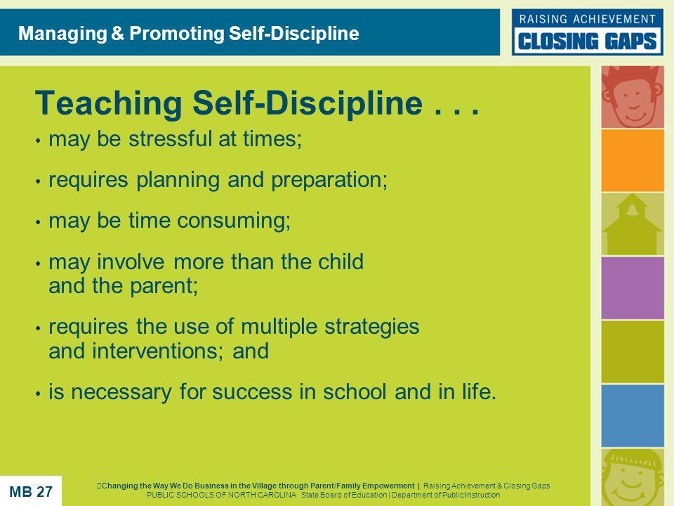 Teaching Self-Discipline . . .