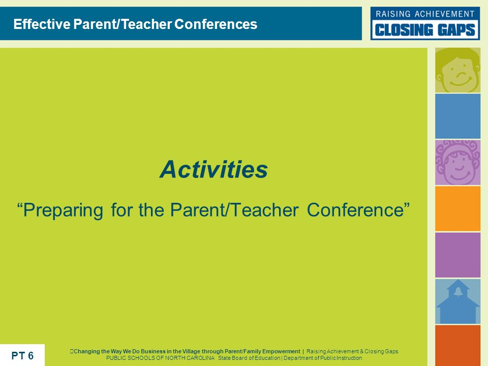 Activities Preparing for the Parent/Teacher Conference