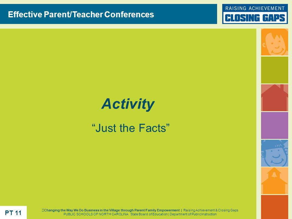 Activity Effective Parent/Teacher Conferences Just the Facts PT 11