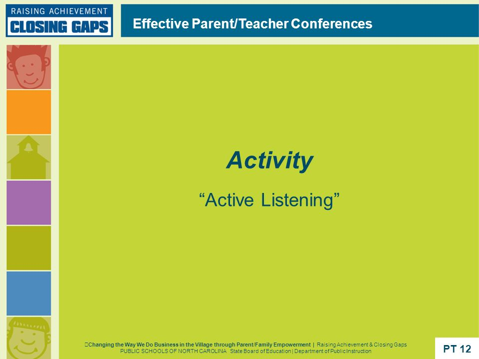 Activity Active Listening Effective Parent/Teacher Conferences PT 12