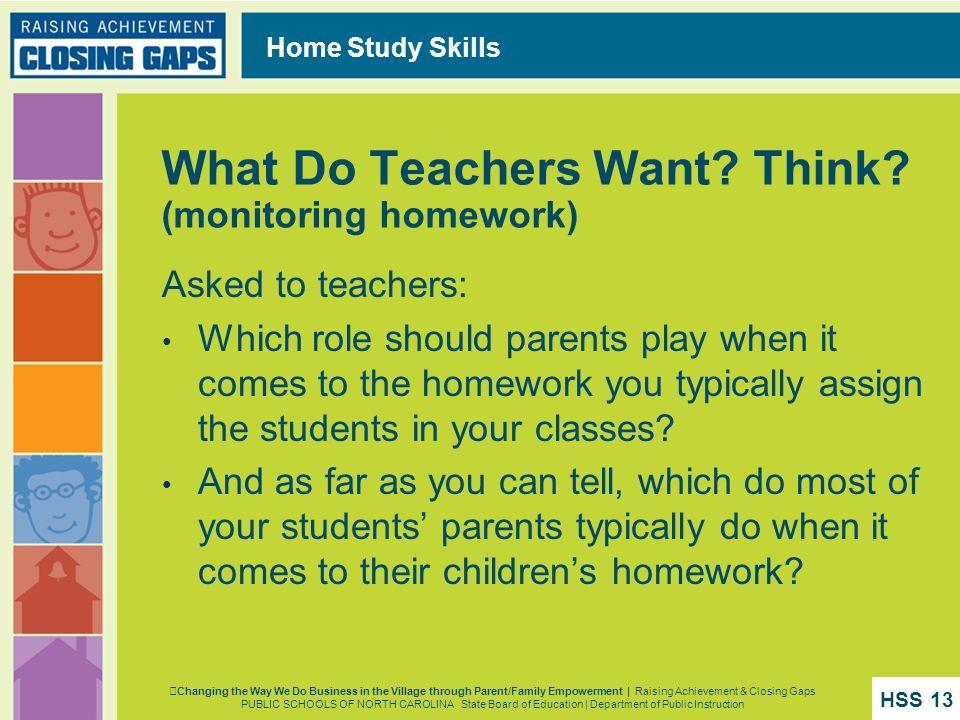 What Do Teachers Want Think (monitoring homework)