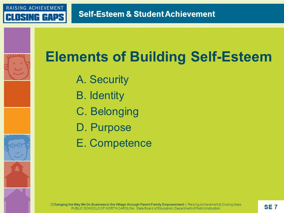 Elements of Building Self-Esteem