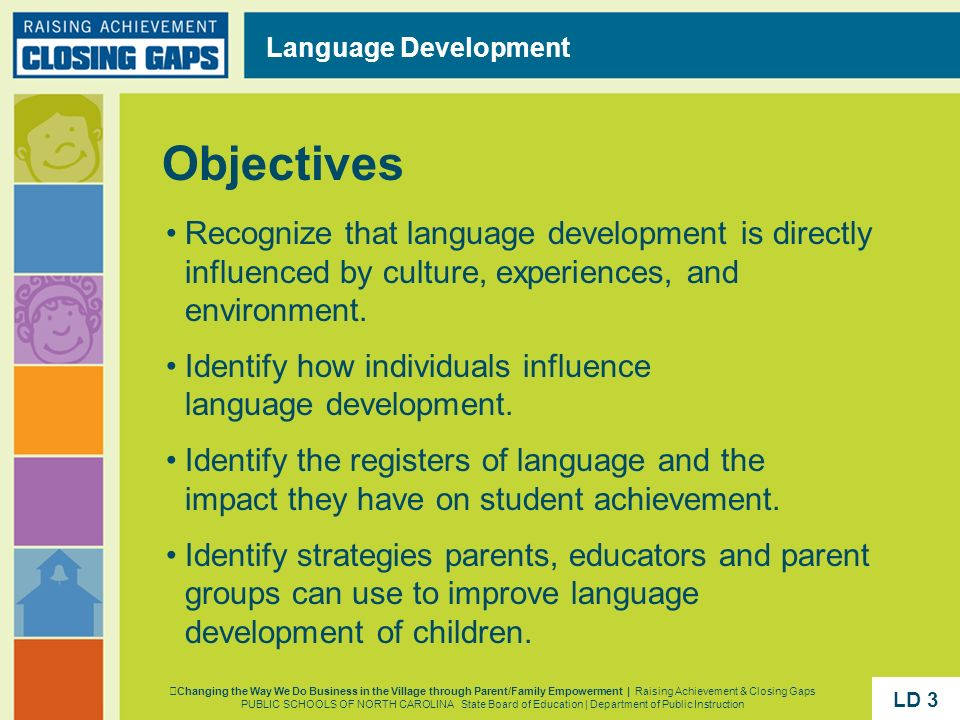 Language Development Objectives. Recognize that language development is directly influenced by culture, experiences, and environment.