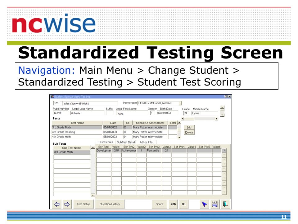 Standardized Testing Screen