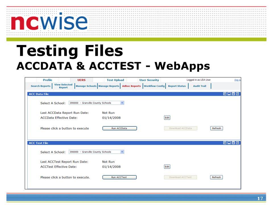 Testing Files ACCDATA & ACCTEST - WebApps