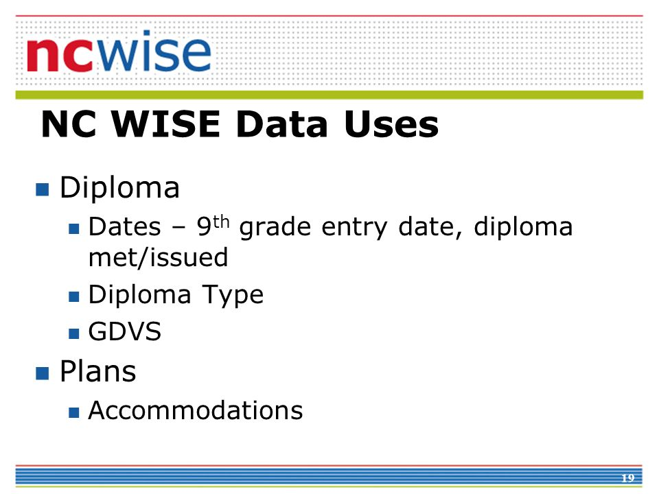 NC WISE Data Uses Diploma Plans