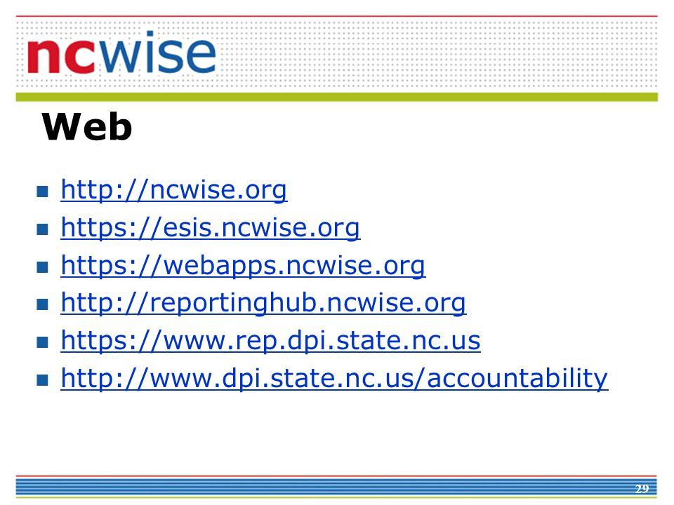 Web http://ncwise.org https://esis.ncwise.org