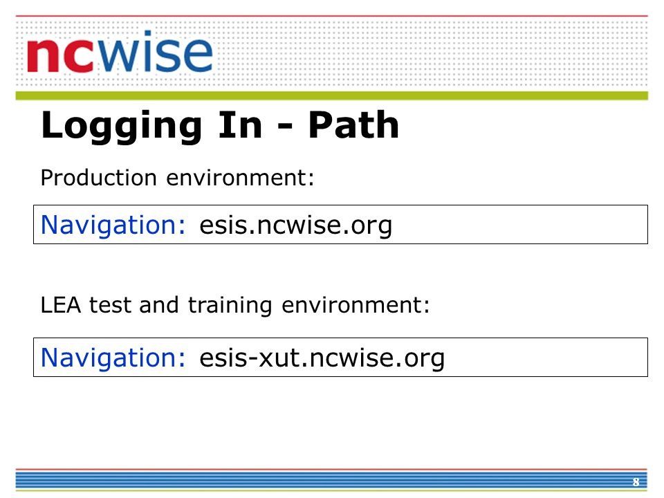 Logging In - Path Navigation: esis.ncwise.org