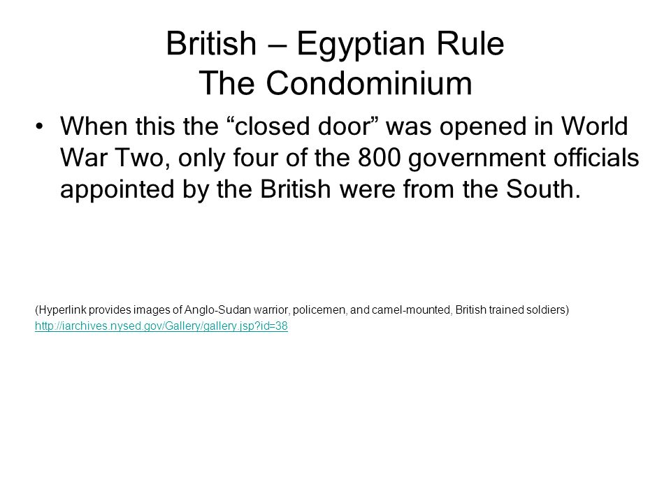 British – Egyptian Rule The Condominium