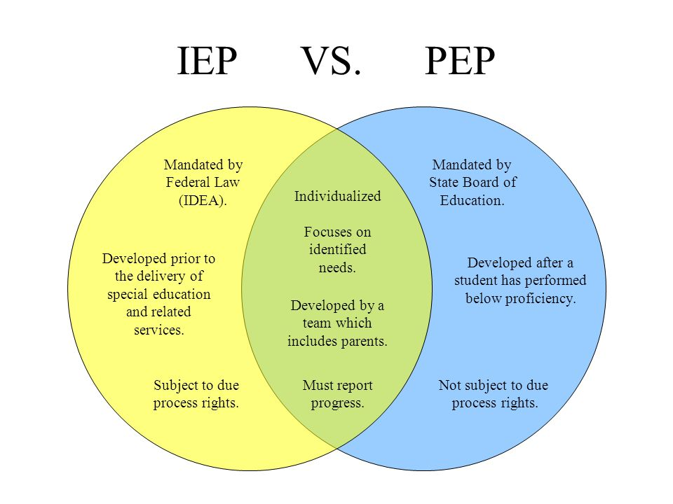 IEP VS. PEP Mandated by Federal Law (IDEA). Mandated by State Board of