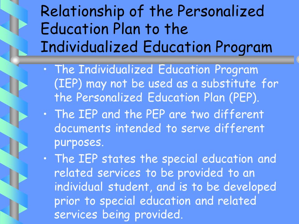 Relationship of the Personalized Education Plan to the Individualized Education Program