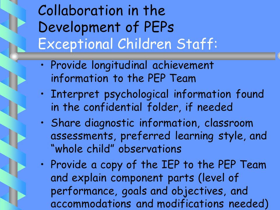Collaboration in the Development of PEPs Exceptional Children Staff: