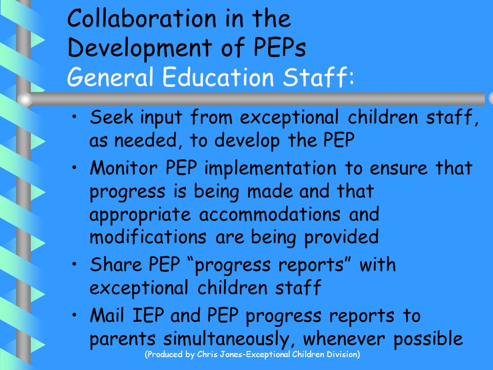 Collaboration in the Development of PEPs General Education Staff: