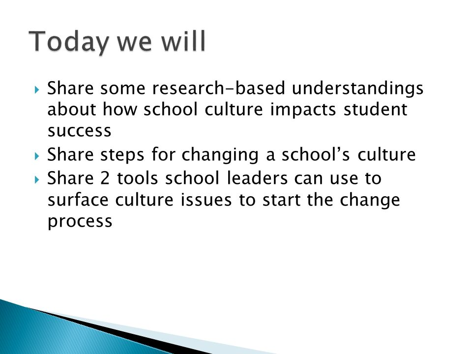 Today we will Share some research-based understandings about how school culture impacts student success.